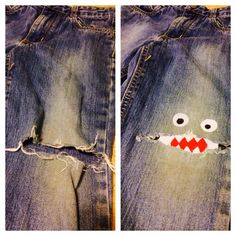 "NO SEW knee patch. ""Monster knees"" - assemble iron on patches (inside out and on top for eyes)"