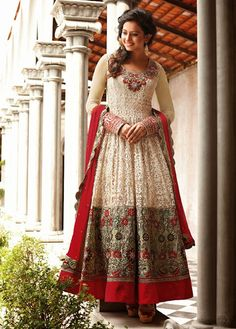 Z Fashion Trend: ELEGANT OFFWHITE  AND MAROON EMBROIDERED ANARKALI