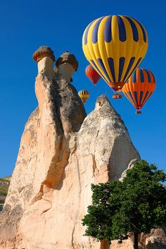 Turkey Travel Pictures - Hot Air Balloons over the rock formations near Goreme at sunrise, Cappadocia Turkey. See more inspiring Travel images at 2019 Paul Williams, photographer. Air Balloon Rides, Hot Air Balloon, Travel Images, Travel Pictures, Turkey Photos, Cappadocia Turkey, Air Ballon, Pictures Images, Ciel