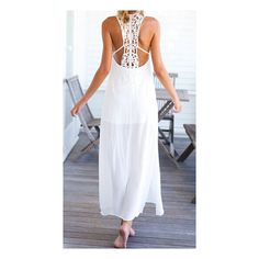 SheIn(sheinside) White Sleeveless Backless Split Long Dress ($15) ❤ liked on Polyvore featuring dresses, white, long white dress, summer dresses, long summer dresses, white chiffon dress и chiffon dress