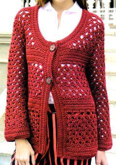 tejidos al crochet paso a paso con diagramas: exclusivo saco artesanal tejido en crochet con esq...