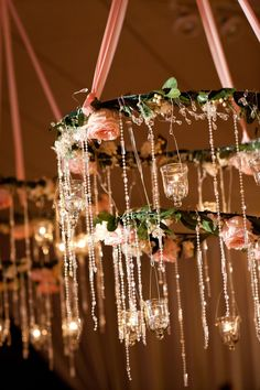 Chandelier Dripping in Flowers and Crystals / Altura Studio / Portland Oregon Wedding / Pink Green Gold