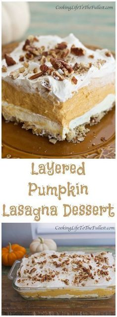 Layered Pumpkin Lasagna Dessert   Cooking Life to the Fullest