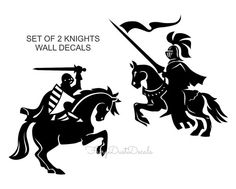 Knights wall decals Set of 2 knights on horses by FairyDustDecals