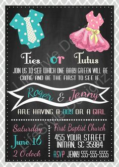 ties or tutus gender reveal invitation pink or blue chalkboard invite baby shower