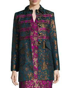 TATKF Nanette Lepore Button-Front Floral Jacquard Coat
