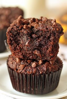 These grain-free chocolate banana muffins are also dairy-free and made healthier!