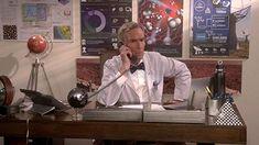 Bill Nye in The Big Bang Theory (2007) Bill Nye, Comedy Series, Big Bang Theory, Bigbang, A Table, Bangs, Fringes, The Big Band Theory, Bangs Hairstyle