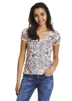 T-shirt print 117M-391 Drop Needle Top - multi