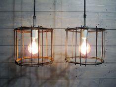 Cage Pendant Light Industrial Steel - Repurposed Rusted Steel (Brown) or Clean Steel (Grey) Steel with Porcelain Socket