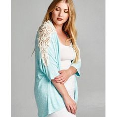 🎉HP!!! 10.31.16🎉 Plus Size Crochet Cardigan Beautiful crochet mint cardigan.  Didn't come with tags.  Price firm unless bundled.                                                          ▪️58% Rayon 38% Polyester 4% Spandex.         ▪️Made in the USA🇺🇸.                                         ▪️Hand wash.                                                       🚫Trades Boutique Sweaters Cardigans
