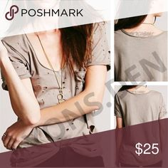 """FREE PEOPLE SHREDDED DESTROYED TOMMY TEE TAUPE NEW WITHOUT TAGS • NEVER WORN •                  OVERSTOCK ITEM, LINE THRU BRAND LABEL FREE PEOPLE DESTROYED TOMMY TEE #31584329 • MSRP $58 • COLOR: TAUPE                                   -SIZE M (20"""" PIT-PIT, 40"""" BUST, 25"""" NECK-HEM) Free People Tops Tees - Short Sleeve"""