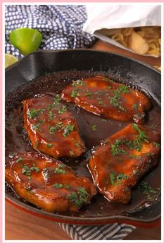 boneless pork chops (about thick) kosher salt Freshly ground black pepper 1 c. barbecue sauce c. brown sugar Juice of 2 limes 1 tsp. Cooking Boneless Pork Chops, Baked Pork Chops, Honey Garlic Pork Chops, Pork Rib Recipes, Broccoli Recipes, Quick Recipes, Yummy Recipes, Yummy Food, Bbq Pork Ribs