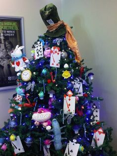 Alice in Wonderland Christmas Tree- Westminster Branch. Tree decorating contest.