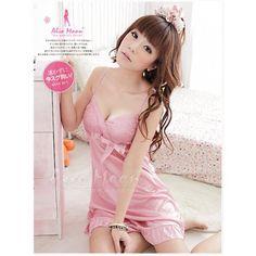 A186 Pink  - 2pc : dress, gstring  Free Size LD 70-90cm, Hips 70-90cm, Bra 32-36    IDR 94.000