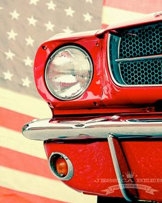 1965 Cherry Red Mustang American Muscle Car American Flag Art Photo Print on Etsy, $20.00