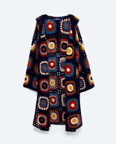 zara motifli kazak Image 8 of LIMITE - zara Gilet Crochet, Crochet Coat, Crochet Cardigan Pattern, Granny Square Crochet Pattern, Crochet Jacket, Crochet Blouse, Crochet Clothes, Diy Clothes, Beau Crochet