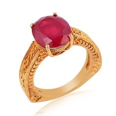 Ruby Yellow Gold Plated sterling silver ring