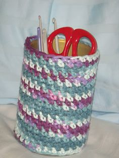 crocheted tin cover