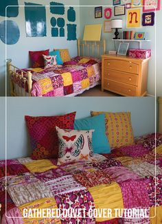 Learn how to make a comfy gathered quilt for any room with this free tutorial. | shop supplies @joannstores