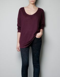 Zara Basic Linen Tshirt in Purple (dark maroon) - Lyst