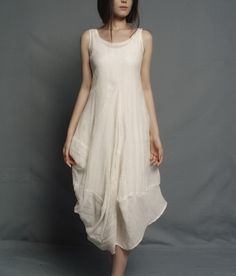 Irregular Rose Bud Hem Sleeveless Linen Dress-zenb.com SKU aa0365