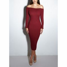 Sexy dew shoulder high waist dress