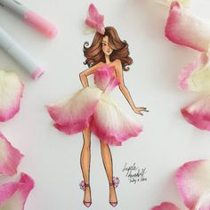 New flower fashion illustration :) Pretty in Pink ♡♡