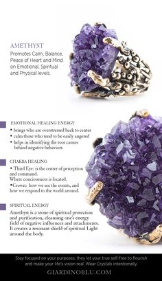 Crystal meaning Chart on how to use Amethyst for Anxiety, balance your Chakra, Stress Relief and spiritual healing practices | Buying Guide about Healing Crystal Jewelry Ring with Amethyst Druse to promote Calm, Balance and Piece on Emotional and Spiritual levels.