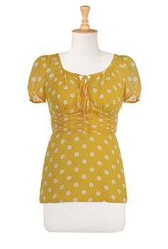 This yellow polka dot blouse is too cute!