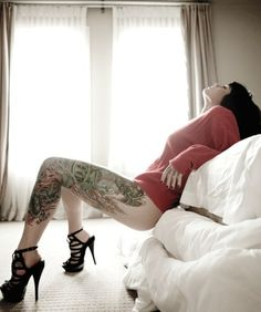 love everything about this photo tattoo women, girl tattoos, hot shoes, thigh tattoos, heel, leg tattoos, legs, heart tattoos, ink