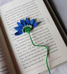 Handmade  Crocheted   Blue   Aster   Flower  by pkladybug on Etsy