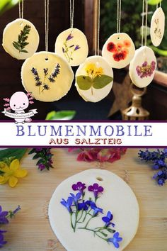 Salt dough ideas - make your own mobile - craft with children- Salzteig Ideen – Mobile selber basteln – Basteln mit Kindern Salt dough ideas – Mobile tinker with flowers and leaves. Handicrafts with children and toddlers - Toddler Crafts, Crafts For Kids, Arts And Crafts, Children Crafts, Mobiles, Mobile Craft, Make Your Own, Make It Yourself, Fleurs Diy