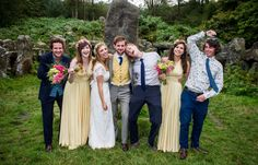 Butter Yellow Ballgowns | twobirds Bridesmaid Dresses | A real wedding featuring our multiway, convertible dress | Jessica and David's outdoor, rustic, relaxed Jewish wedding is full of handmade and DIY details, at The Bivouac, Swinton Park, North Yorkshire, UK.  Photography by Alex Brenner Jessica David, Multiway Bridesmaid Dress, Two Birds Bridesmaid, Yorkshire Uk, Outdoor Wedding Inspiration, Convertible Dress, Brunch Wedding, Wedding Images, Designer Wedding Dresses
