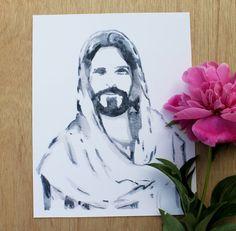 8x10 Watercolor Christ Portrait// Christ by HelloLovelybyCourt