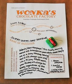 FREE: prototype invention form for an exciting new candy, from the LitWits Kit for CHARLIE AND THE CHOCOLATE FACTORY by Roald Dahl. We're all about sensory, straight-from-the-story experiences of great books. #litwitskits #readforfunlearnforlife