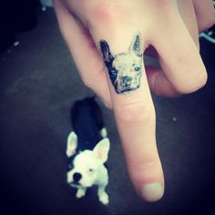 dog portrait finger tattoo by Caitlin Thomas
