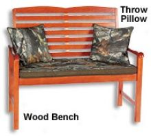 camouflage+home+decor | Camo Outdoor Furniture Collection - Wood Bench With Camo Seat Cushion ...