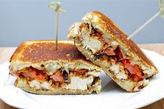 Chicken Tender Melt - Homemade chicken tenders w/ tomato, bacon, & pepperjack, on toasted sourdough.  Yum!!!