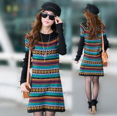 Oversize 100% cotton women dresses winter Chinese national style sweater dresses new fashion 2013 plus size M L XL 2XL 3XL  $44.74