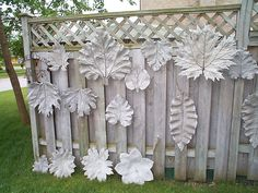 These concrete leaves are gorgeous. Would be beautiful in the garden.