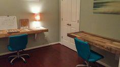 Reclaimed Wood Hanging Desk by HandHCustomWoodworks on Etsy https://www.etsy.com/listing/451248584/reclaimed-wood-hanging-desk