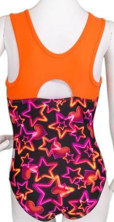 Orange Neon Lights Leotard (Alternate View) #leotards #gymnastics #leotard #gymnast
