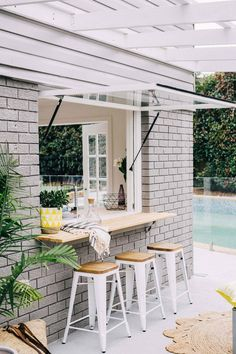 laid-back pool house kitchen