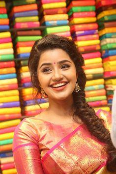 Anupama Parameswaran inaugurates VRK silks at Ameerpet Anupama Parameswaran, Malayalam Actress, South India, Saree, Actresses, Silk, How To Wear, Image, Beautiful