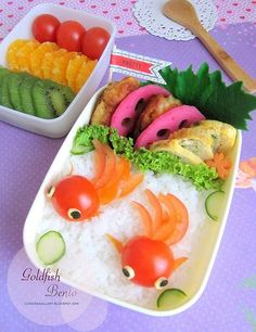 Here's a creative bento box idea. Make cute goldfish on top of a bed of rice. Cut a cherry tomato in half for the fish. Cute Bento Boxes, Bento Box Lunch, Lunch Boxes, Food Art Bento, Cute Food, Yummy Food, Japanese Food Art, Japanese Lunch, Little Lunch
