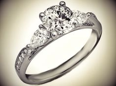 Cathedral Diamond Engagement Ring Pear Shape side stones