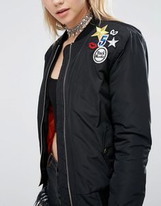 Image 3 of Glamorous Tall Bomber Jacket With Badge Detail