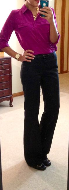 How To Wear Black Pants Work Outfits Shoes Outlet 25 Ideas Business Professional Outfits, Business Casual Outfits, Business Attire, Business Fashion, Business Women, Black Pants Work, Black Trousers, Black Slacks, Black Work