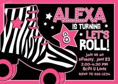 roller skating invitation for birthday party hot pink and zebra print skate digital printable - Roller Skating Birthday Party Invitations